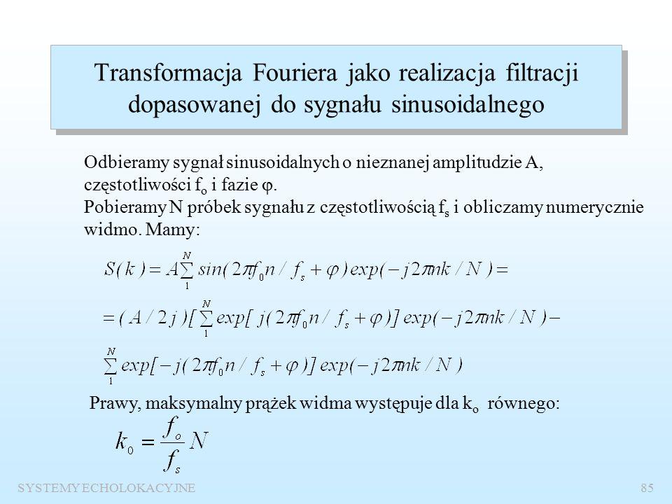 SYSTEMY ECHOLOKACYJNE84 Nieznana faza Wniosek: Detekcja progowa jest niemożliwa