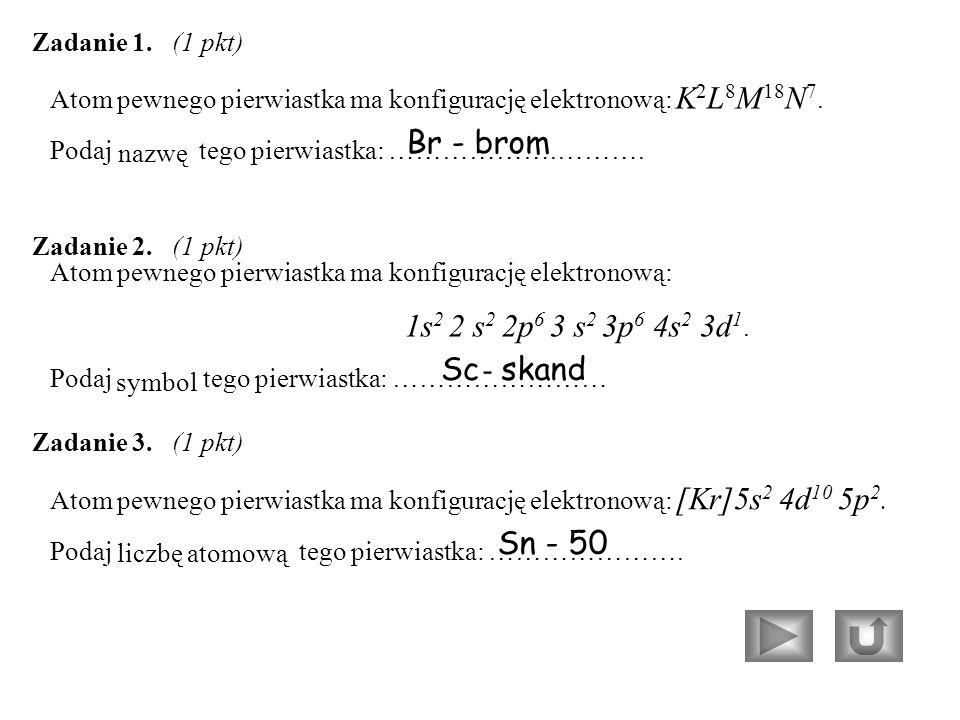 Atom pewnego pierwiastka ma konfigurację elektronową: K 2 L 8 M 18 N 7.