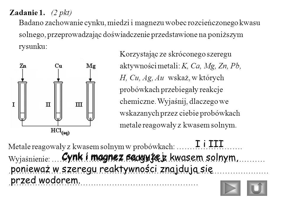 Badano zachowanie cynku, miedzi i magnezu wobec rozcieńczonego kwasu solnego, przeprowadzając doświadczenie przedstawione na poniższym rysunku: Zadanie 1.