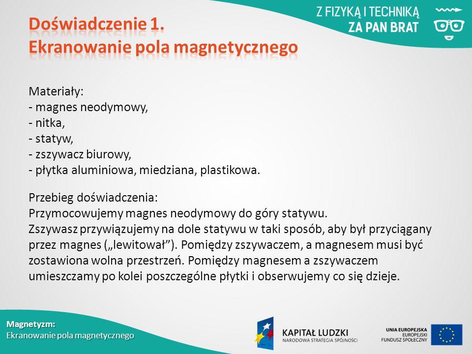 Magnetyzm: Ekranowanie pola magnetycznego Materiały: - magnes neodymowy, - nitka, - statyw, - zszywacz biurowy, - płytka aluminiowa, miedziana, plastikowa.