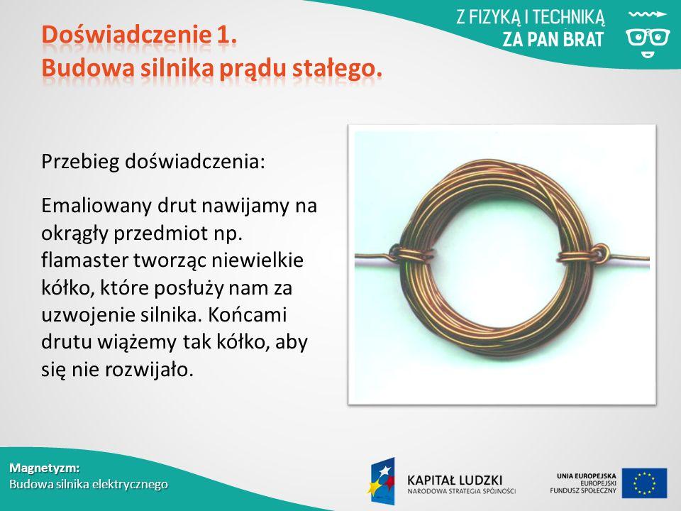 Magnetyzm: Budowa silnika elektrycznego Przebieg doświadczenia: Emaliowany drut nawijamy na okrągły przedmiot np.