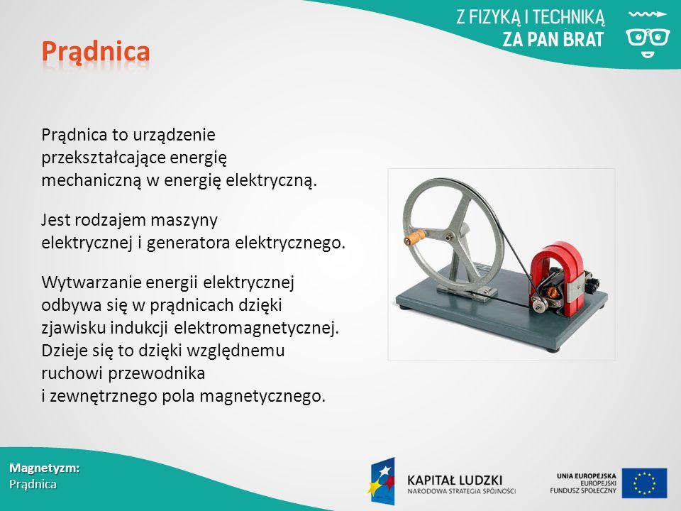 Magnetyzm: Prądnica Prądnica to urządzenie przekształcające energię mechaniczną w energię elektryczną.