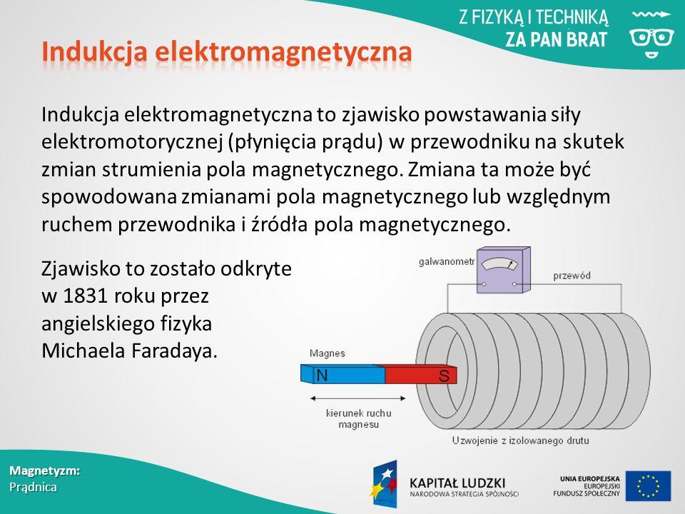 Magnetyzm: Prądnica Indukcja elektromagnetyczna to zjawisko powstawania siły elektromotorycznej (płynięcia prądu) w przewodniku na skutek zmian strumienia pola magnetycznego.