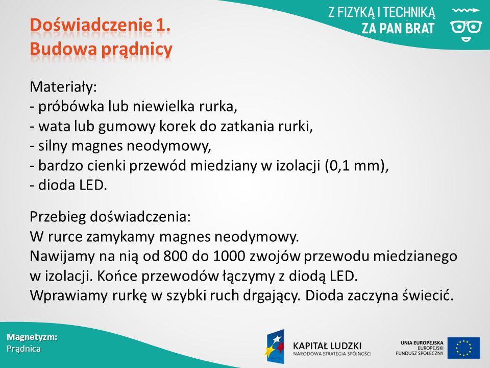 Magnetyzm: Prądnica Materiały: - próbówka lub niewielka rurka, - wata lub gumowy korek do zatkania rurki, - silny magnes neodymowy, - bardzo cienki przewód miedziany w izolacji (0,1 mm), - dioda LED.