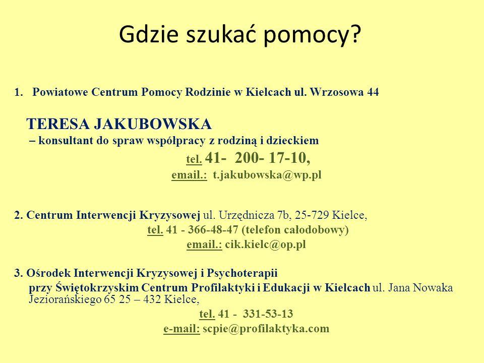 Gdzie szukać pomocy. 1.Powiatowe Centrum Pomocy Rodzinie w Kielcach ul.