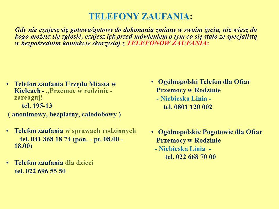 TELEFONY ZAUFANIA: Telefon zaufania Urzędu Miasta w Kielcach -,,Przemoc w rodzinie - zareaguj.