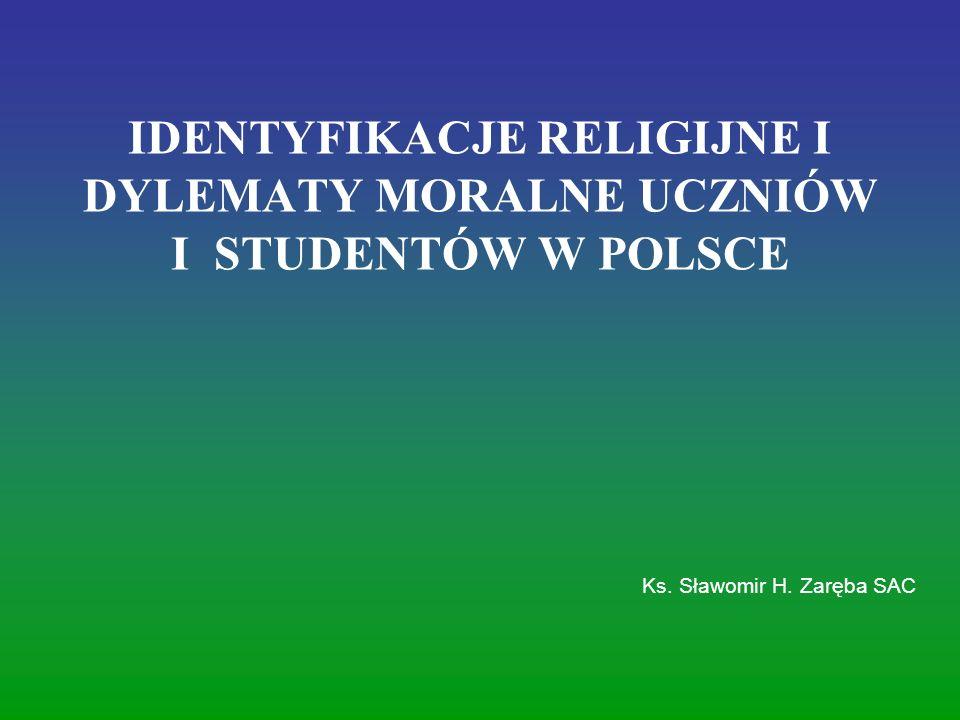 IDENTYFIKACJE RELIGIJNE I DYLEMATY MORALNE UCZNIÓW I STUDENTÓW W POLSCE Ks. Sławomir H. Zaręba SAC