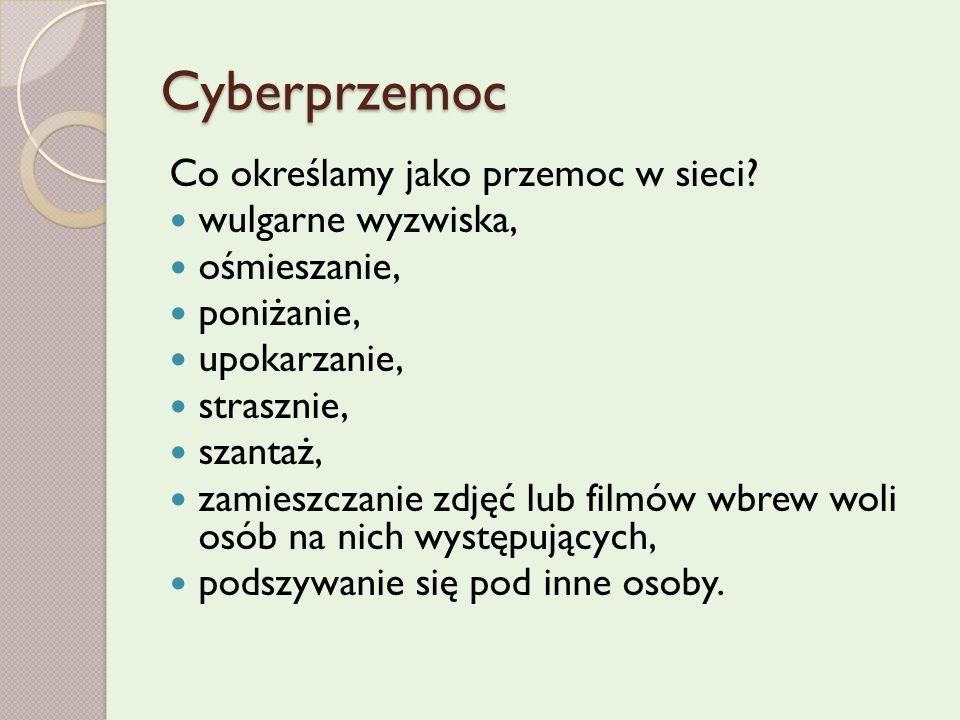 Cyberprzemoc Co określamy jako przemoc w sieci.