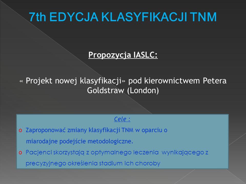 7th EDYCJA KLASYFIKACJI TNM « Projekt nowej klasyfikacji» pod kierownictwem Petera Goldstraw (London) Cele : o Zaproponować zmiany klasyfikacji TNM w