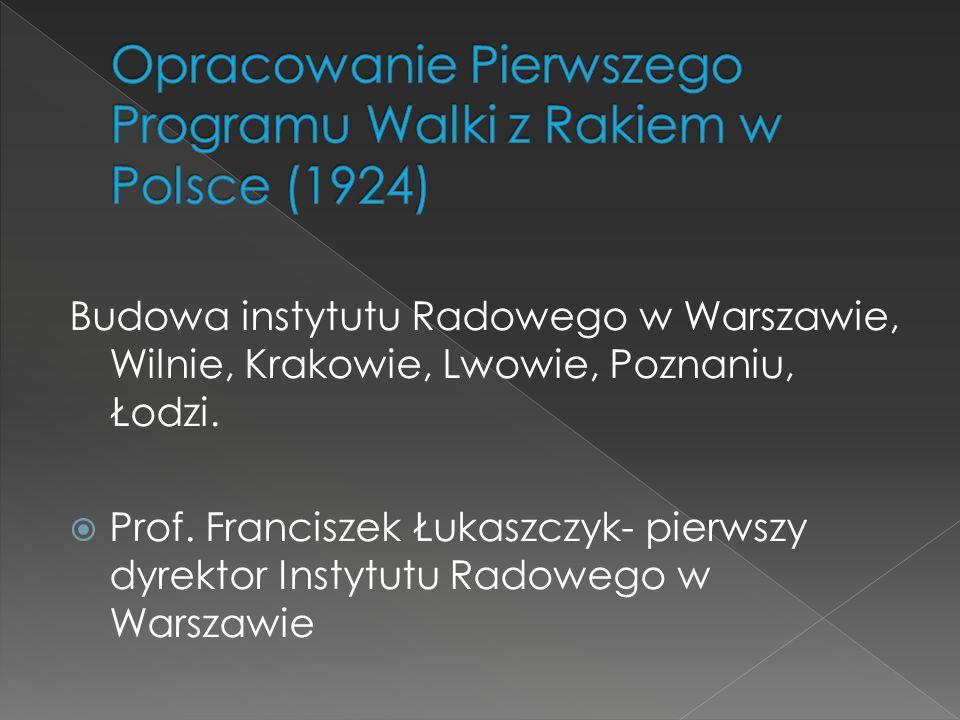 Budowa instytutu Radowego w Warszawie, Wilnie, Krakowie, Lwowie, Poznaniu, Łodzi.  Prof. Franciszek Łukaszczyk- pierwszy dyrektor Instytutu Radowego