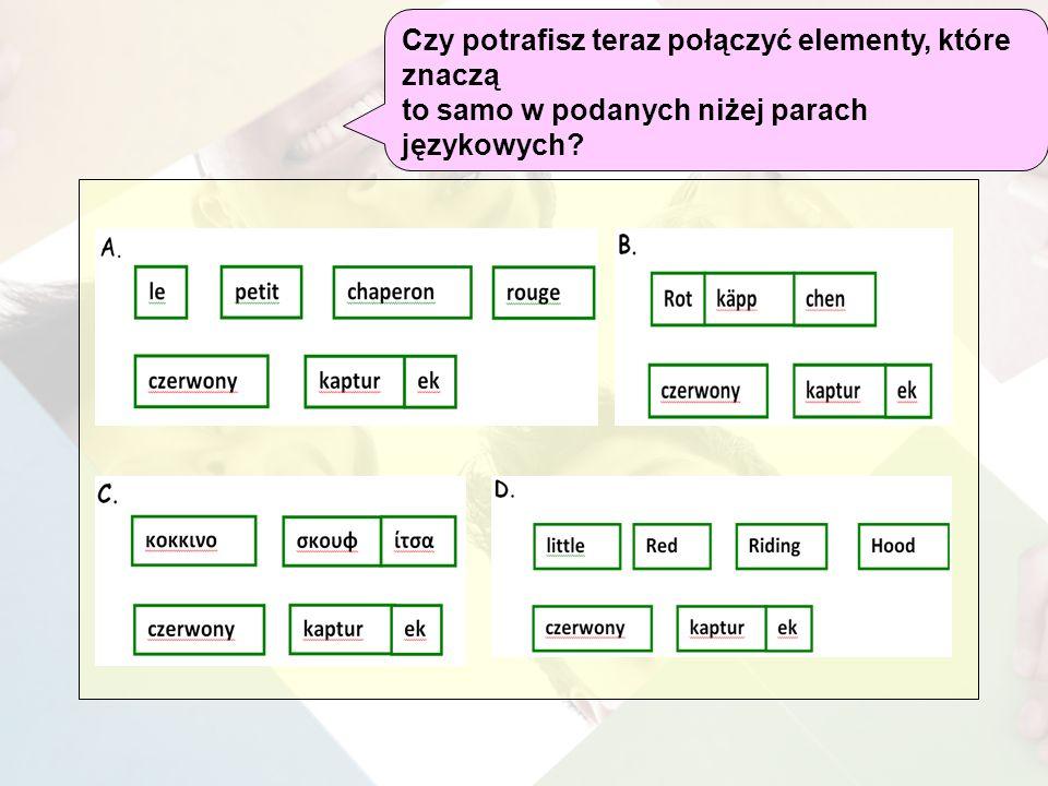 Czy potrafisz teraz połączyć elementy, które znaczą to samo w podanych niżej parach językowych?