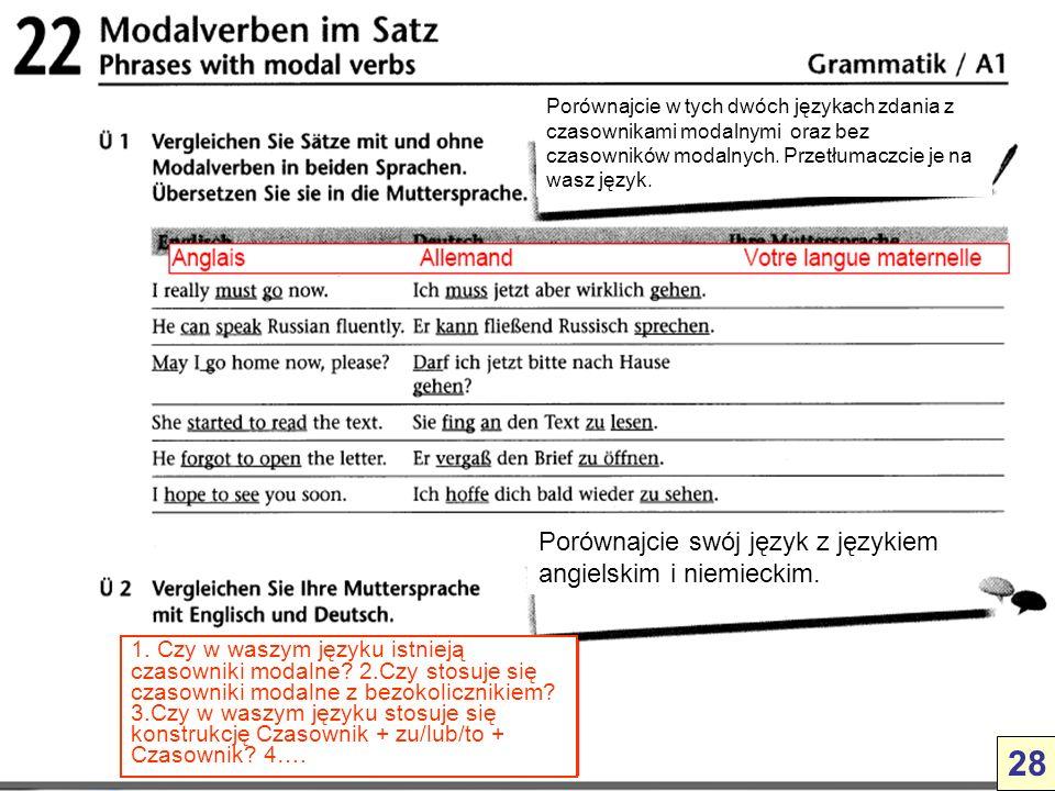 28 Porównajcie w tych dwóch językach zdania z czasownikami modalnymi oraz bez czasowników modalnych. Przetłumaczcie je na wasz język. Porównajcie swój