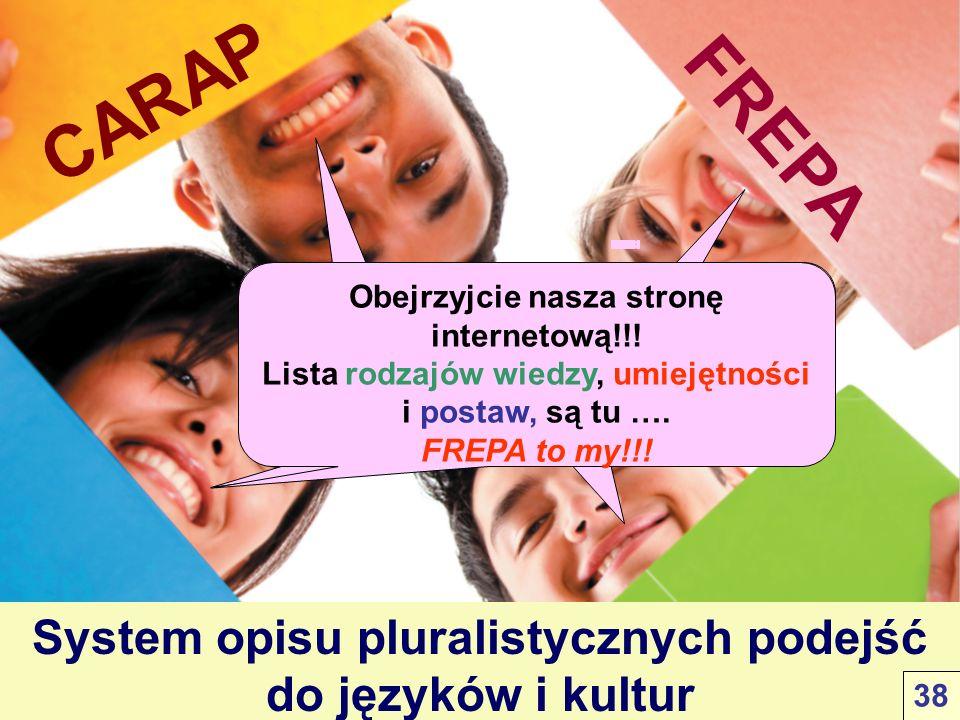 CARAP FREPA System opisu pluralistycznych podejść do języków i kultur Venez-voir sur notre site!!! Les listes de savoirs, savoir-être et savoir-faire