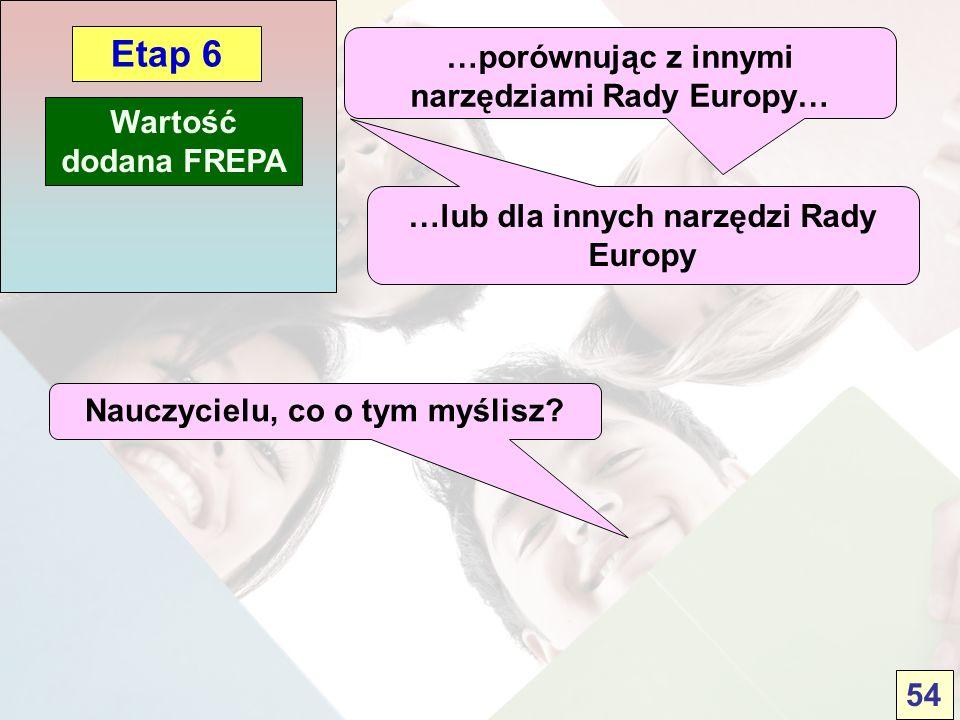 Wartość dodana FREPA Etap 6 …porównując z innymi narzędziami Rady Europy… …lub dla innych narzędzi Rady Europy Nauczycielu, co o tym myślisz? 54