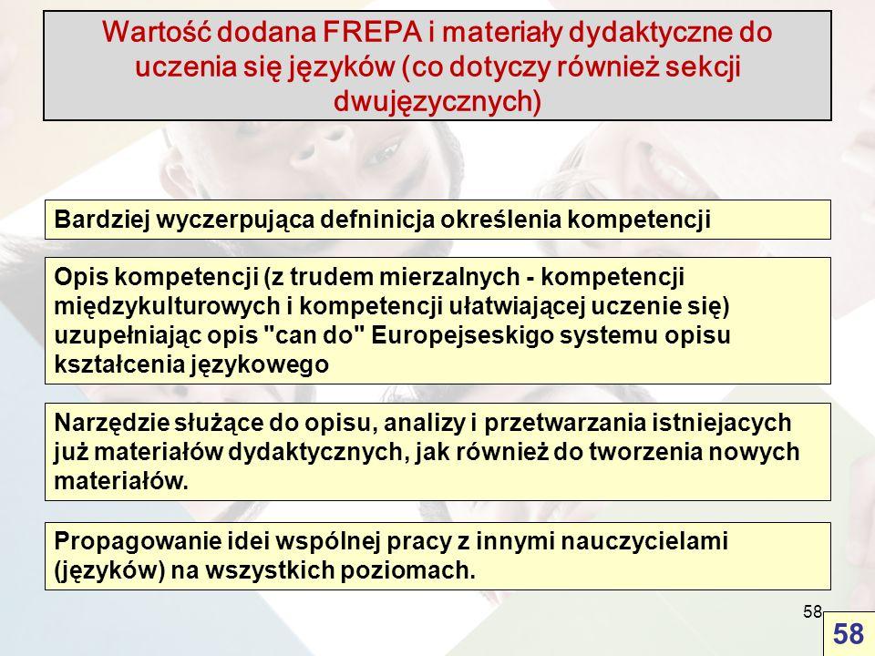 58 Wartość dodana FREPA i materiały dydaktyczne do uczenia się języków (co dotyczy również sekcji dwujęzycznych) Bardziej wyczerpująca defninicja okre