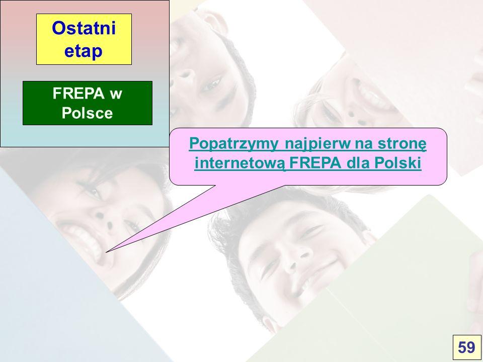 FREPA w Polsce Ostatni etap Popatrzymy najpierw na stronę internetową FREPA dla Polski 59