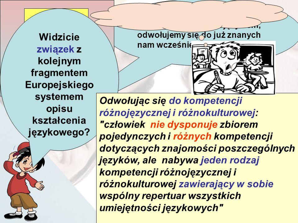 Możemy zauważyć, że kiedy stykamy się z nowym językiem, odwołujemy się do już znanych nam wcześniej języków. Powiązania między kompetencjami odnoszący