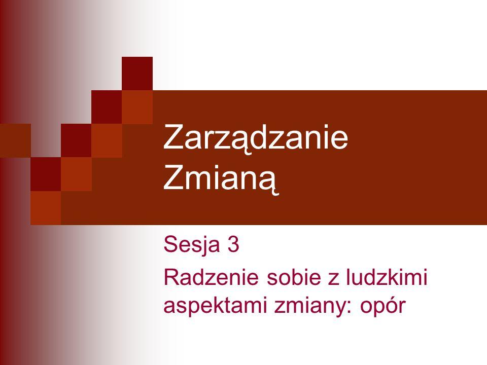 Zarządzanie Zmianą Sesja 3 Radzenie sobie z ludzkimi aspektami zmiany: opór