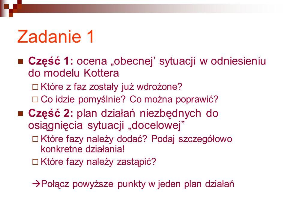 """Zadanie 1 Część 1: ocena """"obecnej' sytuacji w odniesieniu do modelu Kottera  Które z faz zostały już wdrożone."""