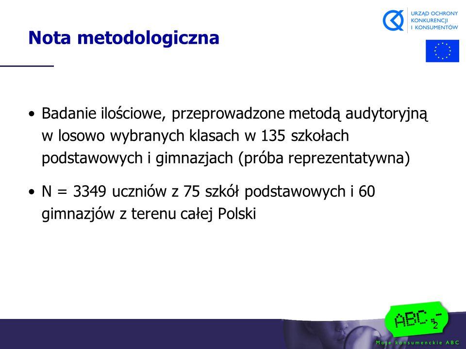 2 Nota metodologiczna Badanie ilościowe, przeprowadzone metodą audytoryjną w losowo wybranych klasach w 135 szkołach podstawowych i gimnazjach (próba reprezentatywna) N = 3349 uczniów z 75 szkół podstawowych i 60 gimnazjów z terenu całej Polski