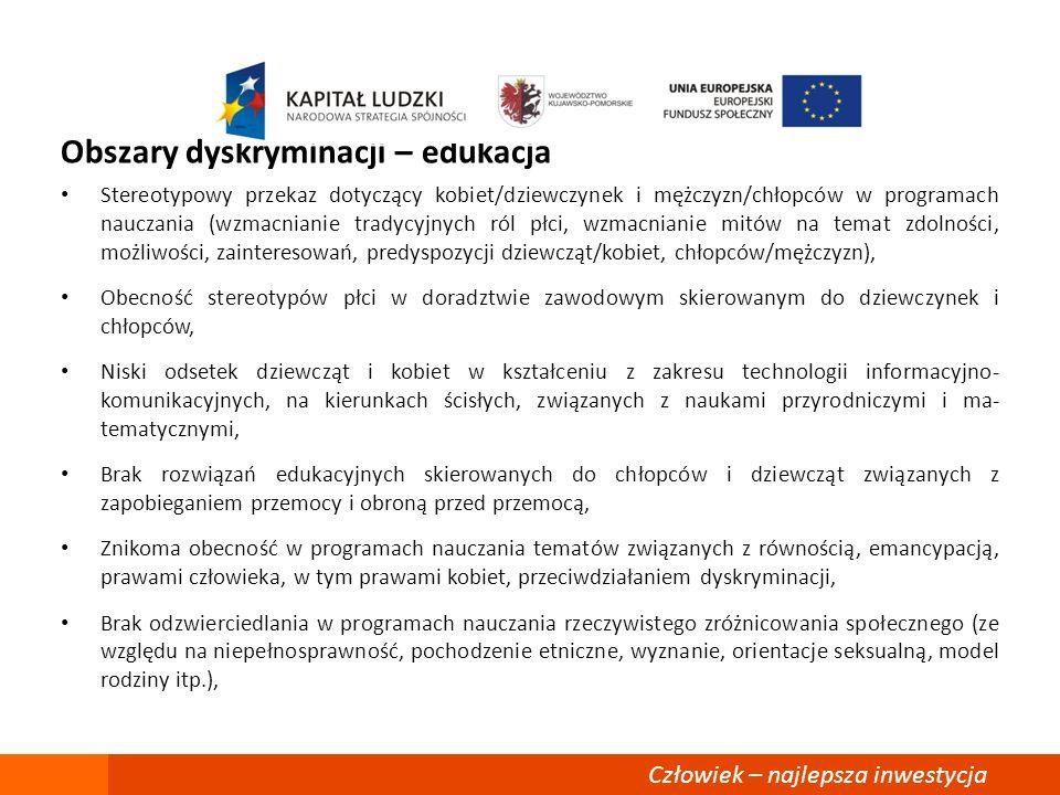Obszary dyskryminacji – edukacja Stereotypowy przekaz dotyczący kobiet/dziewczynek i mężczyzn/chłopców w programach nauczania (wzmacnianie tradycyjnyc