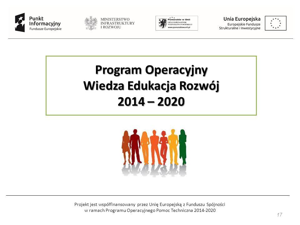 Projekt jest współfinansowany przez Unię Europejską z Funduszu Spójności w ramach Programu Operacyjnego Pomoc Techniczna 2014-2020 17 Program Operacyjny Wiedza Edukacja Rozwój 2014 – 2020