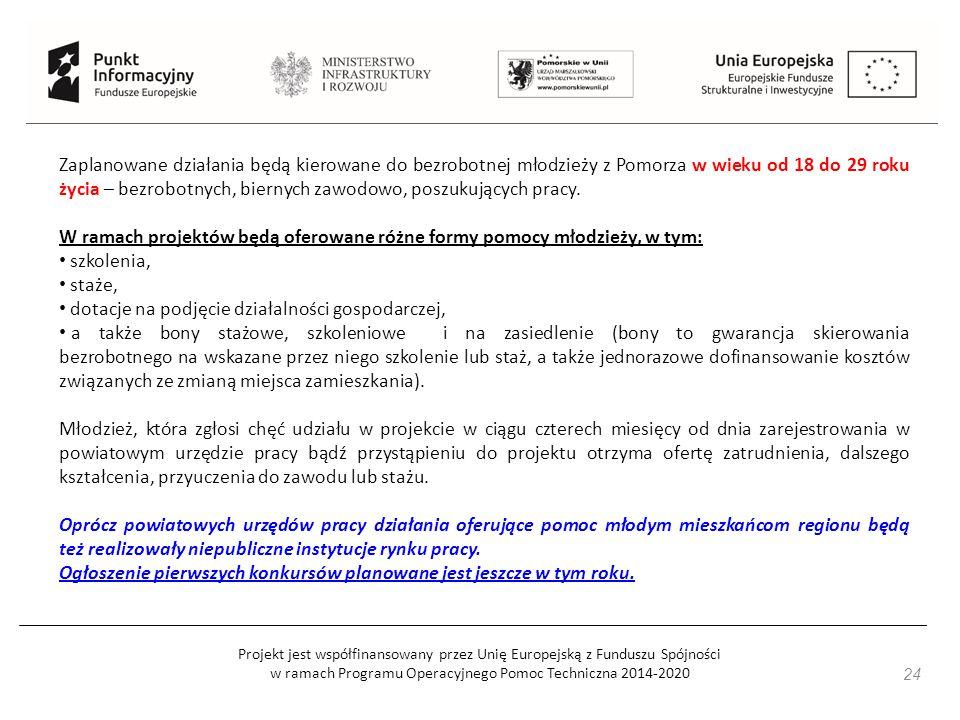 Projekt jest współfinansowany przez Unię Europejską z Funduszu Spójności w ramach Programu Operacyjnego Pomoc Techniczna 2014-2020 Zaplanowane działania będą kierowane do bezrobotnej młodzieży z Pomorza w wieku od 18 do 29 roku życia – bezrobotnych, biernych zawodowo, poszukujących pracy.