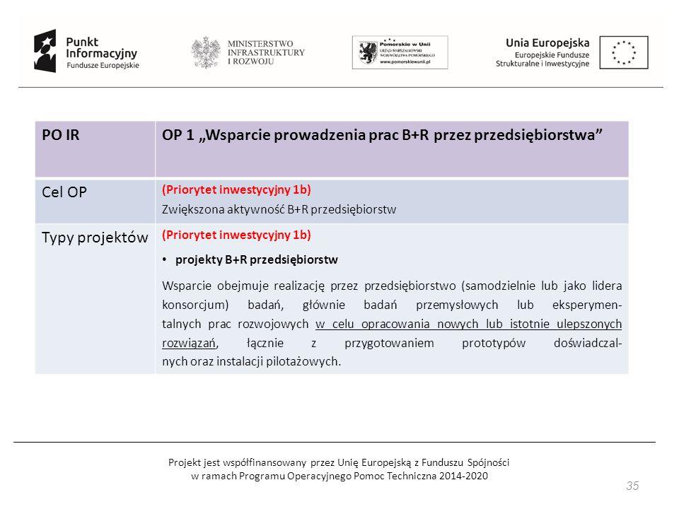 """Projekt jest współfinansowany przez Unię Europejską z Funduszu Spójności w ramach Programu Operacyjnego Pomoc Techniczna 2014-2020 PO IROP 1 """"Wsparcie prowadzenia prac B+R przez przedsiębiorstwa Cel OP (Priorytet inwestycyjny 1b) Zwiększona aktywność B+R przedsiębiorstw Typy projektów (Priorytet inwestycyjny 1b) projekty B+R przedsiębiorstw Wsparcie obejmuje realizację przez przedsiębiorstwo (samodzielnie lub jako lidera konsorcjum) badań, głównie badań przemysłowych lub eksperymen- talnych prac rozwojowych w celu opracowania nowych lub istotnie ulepszonych rozwiązań, łącznie z przygotowaniem prototypów doświadczal- nych oraz instalacji pilotażowych."""