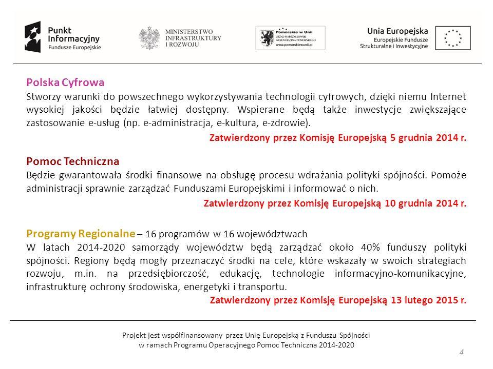Projekt jest współfinansowany przez Unię Europejską z Funduszu Spójności w ramach Programu Operacyjnego Pomoc Techniczna 2014-2020 Najważniejsze zasady w Funduszach Europejskich 2014-2020 Koncentracja tematyczna - ograniczenie interwencji do 11 celów tematycznych oraz tzw.