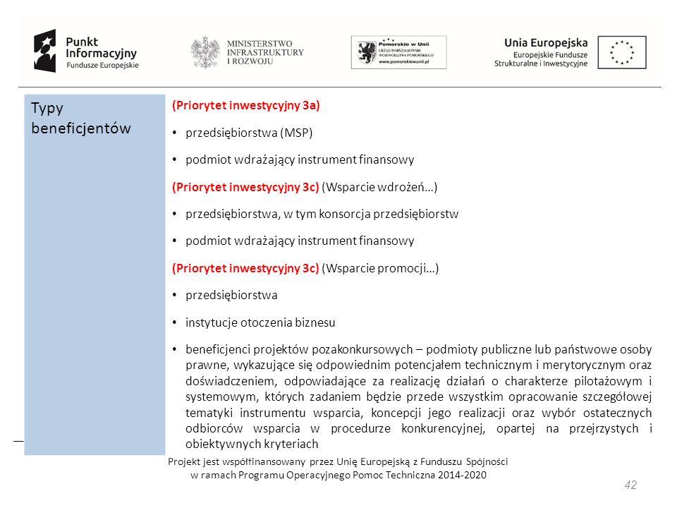 Projekt jest współfinansowany przez Unię Europejską z Funduszu Spójności w ramach Programu Operacyjnego Pomoc Techniczna 2014-2020 Typy beneficjentów (Priorytet inwestycyjny 3a) przedsiębiorstwa (MSP) podmiot wdrażający instrument finansowy (Priorytet inwestycyjny 3c) (Wsparcie wdrożeń…) przedsiębiorstwa, w tym konsorcja przedsiębiorstw podmiot wdrażający instrument finansowy (Priorytet inwestycyjny 3c) (Wsparcie promocji…) przedsiębiorstwa instytucje otoczenia biznesu beneficjenci projektów pozakonkursowych – podmioty publiczne lub państwowe osoby prawne, wykazujące się odpowiednim potencjałem technicznym i merytorycznym oraz doświadczeniem, odpowiadające za realizację działań o charakterze pilotażowym i systemowym, których zadaniem będzie przede wszystkim opracowanie szczegółowej tematyki instrumentu wsparcia, koncepcji jego realizacji oraz wybór ostatecznych odbiorców wsparcia w procedurze konkurencyjnej, opartej na przejrzystych i obiektywnych kryteriach 42