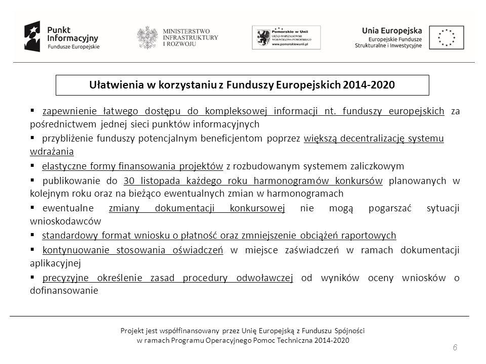 Projekt jest współfinansowany przez Unię Europejską z Funduszu Spójności w ramach Programu Operacyjnego Pomoc Techniczna 2014-2020 Kilka istotnych informacji o dotacjach: dotacja nie jest pomocą społeczną – to środki na rozwój dotacja nie stanowi 100% projektu wsparcie należy bardzo sumiennie rozliczyć po zrealizowaniu projektu należy jeszcze utrzymać jego rezultaty wnioski rozpatrywane są w trybie konkursowym wniosek o dotację składa się na odpowiednim formularzu i ma on formę biznesplanu proces decyzyjny może zająć nawet 6 miesięcy dotacji nie można przeznaczyć na zakup towaru 7