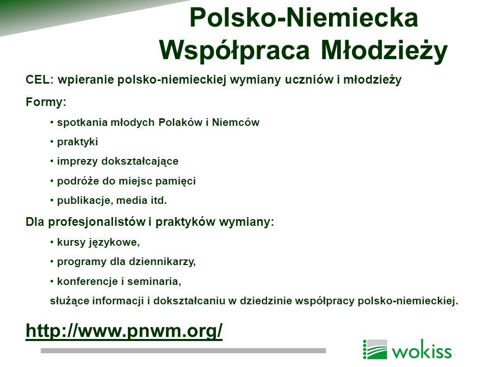 CEL: wpieranie polsko-niemieckiej wymiany uczniów i młodzieży Formy: spotkania młodych Polaków i Niemców praktyki imprezy dokształcające podróże do mi