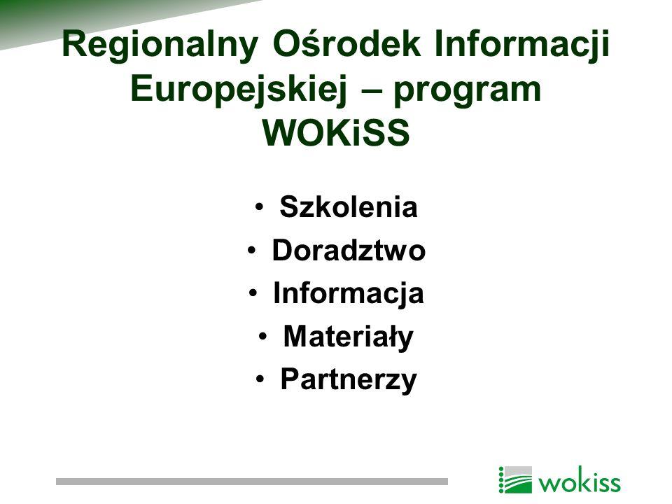 Regionalny Ośrodek Informacji Europejskiej – program WOKiSS Szkolenia Doradztwo Informacja Materiały Partnerzy
