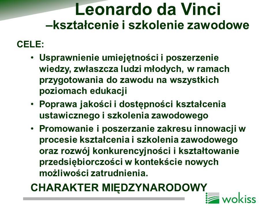Leonardo da Vinci –kształcenie i szkolenie zawodowe CELE: Usprawnienie umiejętności i poszerzenie wiedzy, zwłaszcza ludzi młodych, w ramach przygotowa