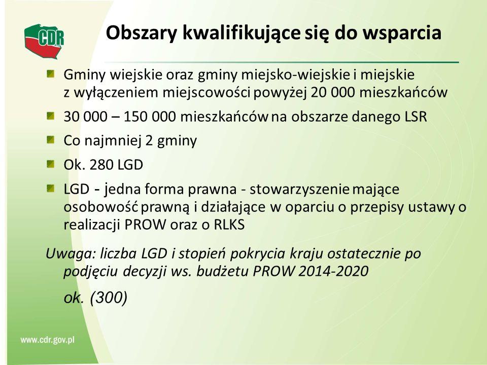 Obszary kwalifikujące się do wsparcia Gminy wiejskie oraz gminy miejsko-wiejskie i miejskie z wyłączeniem miejscowości powyżej 20 000 mieszkańców 30 000 – 150 000 mieszkańców na obszarze danego LSR Co najmniej 2 gminy Ok.