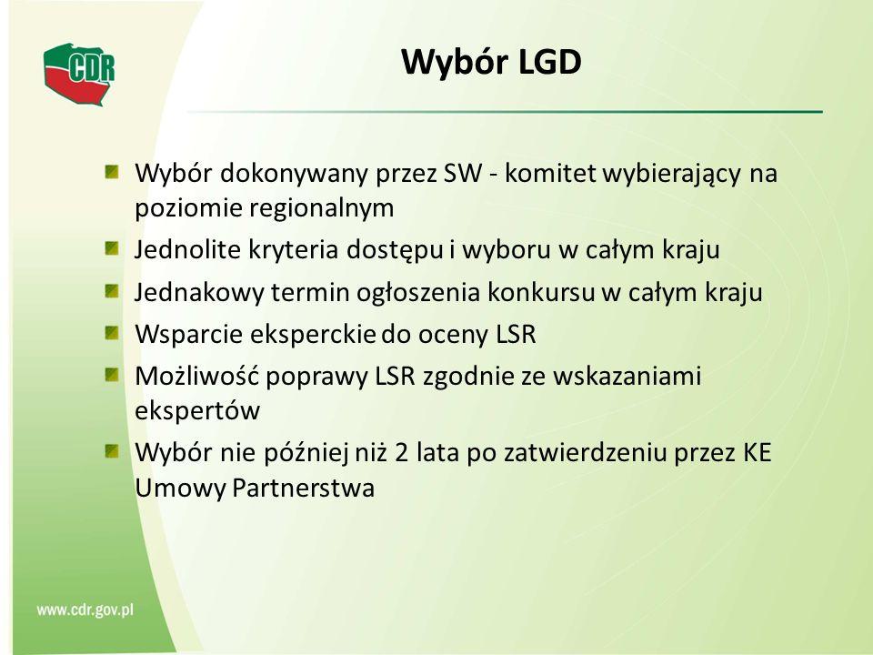 Wybór LGD Wybór dokonywany przez SW - komitet wybierający na poziomie regionalnym Jednolite kryteria dostępu i wyboru w całym kraju Jednakowy termin ogłoszenia konkursu w całym kraju Wsparcie eksperckie do oceny LSR Możliwość poprawy LSR zgodnie ze wskazaniami ekspertów Wybór nie później niż 2 lata po zatwierdzeniu przez KE Umowy Partnerstwa