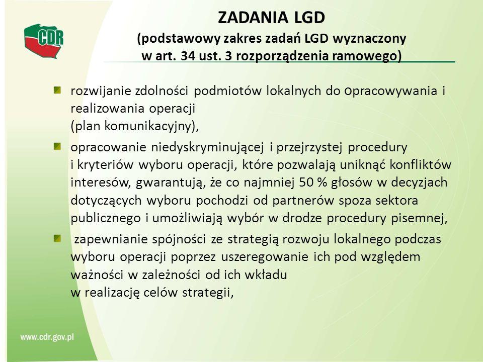 ZADANIA LGD (podstawowy zakres zadań LGD wyznaczony w art. 34 ust. 3 rozporządzenia ramowego) rozwijanie zdolności podmiotów lokalnych do o pracowywan