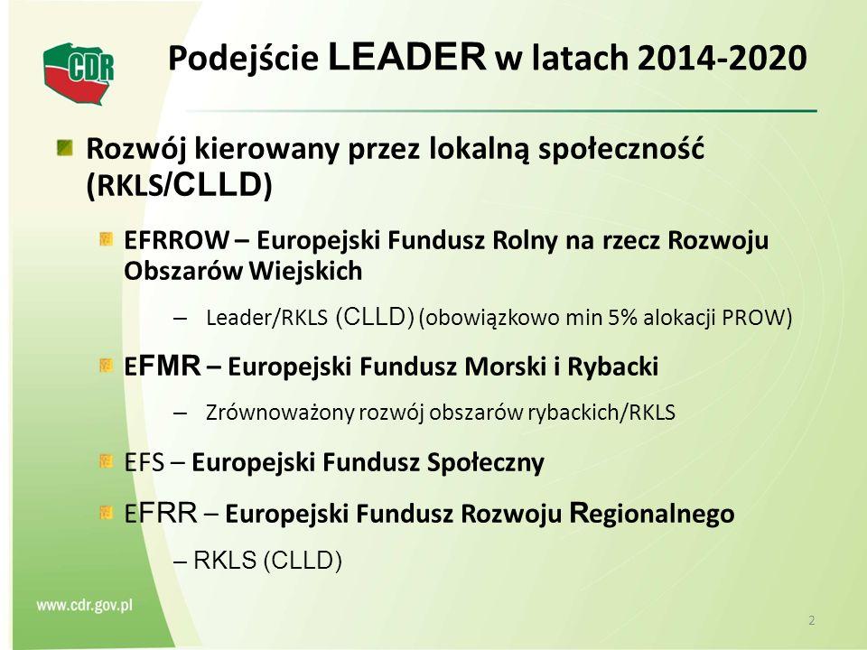 2 Podejście LEADER w latach 2014-2020 Rozwój kierowany przez lokalną społeczność (RKLS /CLLD ) EFRROW – Europejski Fundusz Rolny na rzecz Rozwoju Obszarów Wiejskich – Leader/RKLS (CLLD) (obowiązkowo min 5% alokacji PROW) E FMR – Europejski Fundusz Morski i Rybacki – Zrównoważony rozwój obszarów rybackich/RKLS EFS – Europejski Fundusz Społeczny E FRR – Europejski Fundusz Rozwoju R egionalnego – RKLS (CLLD)