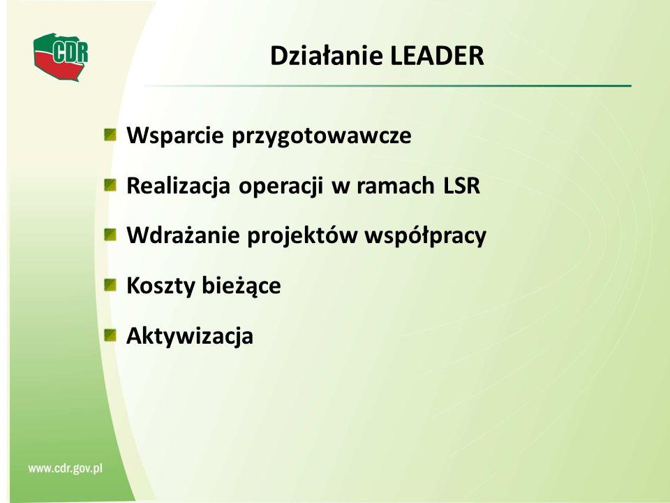 Działanie LEADER Wsparcie przygotowawcze Realizacja operacji w ramach LSR Wdrażanie projektów współpracy Koszty bieżące Aktywizacja