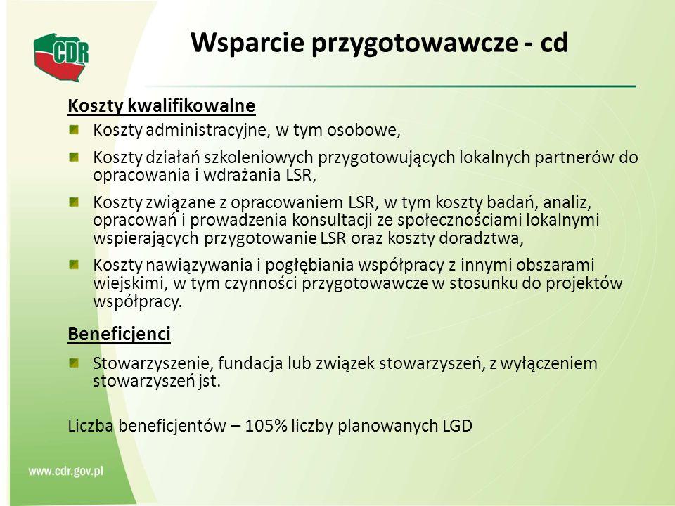 Wsparcie przygotowawcze - cd Koszty kwalifikowalne Koszty administracyjne, w tym osobowe, Koszty działań szkoleniowych przygotowujących lokalnych part