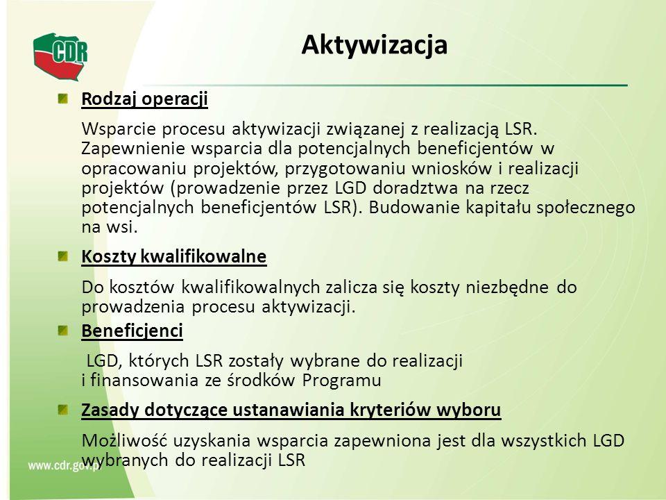 Aktywizacja Rodzaj operacji Wsparcie procesu aktywizacji związanej z realizacją LSR. Zapewnienie wsparcia dla potencjalnych beneficjentów w opracowani
