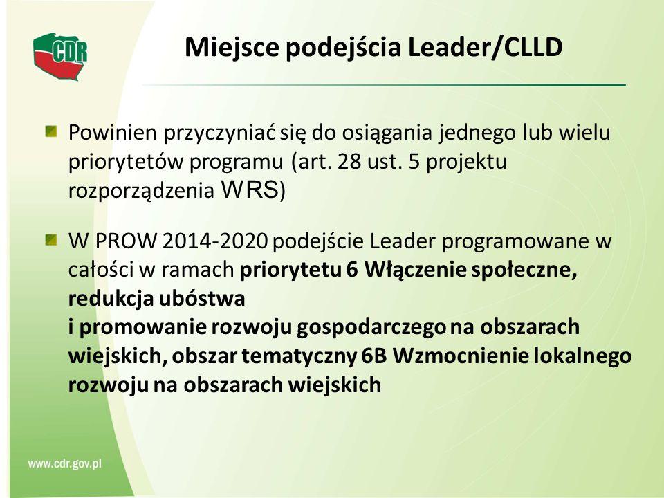 Miejsce podejścia Leader/CLLD Powinien przyczyniać się do osiągania jednego lub wielu priorytetów programu (art. 28 ust. 5 projektu rozporządzenia WRS