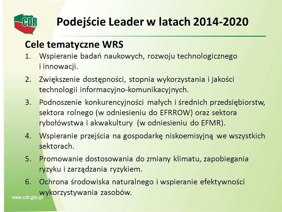 Cele tematyczne WRS 1. Wspieranie badań naukowych, rozwoju technologicznego i innowacji.
