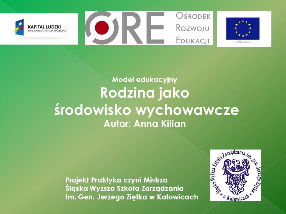 Model edukacyjny Rodzina jako środowisko wychowawcze Autor: Anna Kilian Projekt Praktyka czyni Mistrza Śląska Wyższa Szkoła Zarządzania Im.