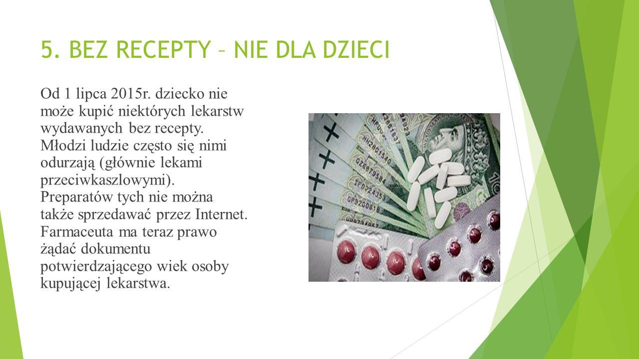 5.BEZ RECEPTY – NIE DLA DZIECI Od 1 lipca 2015r.