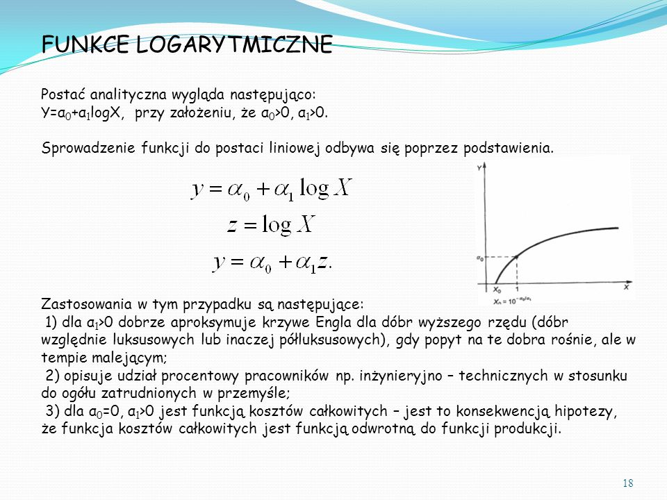 FUNKCE LOGARYTMICZNE Postać analityczna wygląda następująco: Y=α 0 +α 1 logX, przy założeniu, że α 0 >0, α 1 >0. Sprowadzenie funkcji do postaci linio