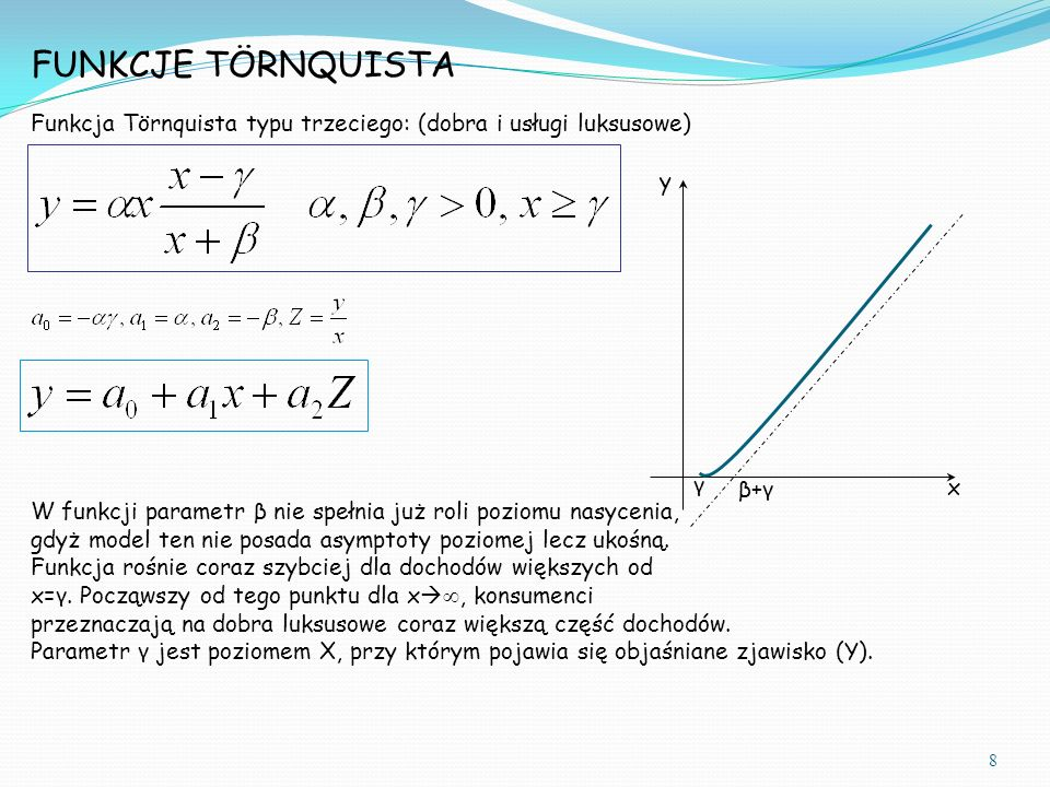 Funkcja Törnquista typu trzeciego: (dobra i usługi luksusowe) FUNKCJE TÖRNQUISTA y x γ β+γβ+γ W funkcji parametr β nie spełnia już roli poziomu nasycenia, gdyż model ten nie posada asymptoty poziomej lecz ukośną.