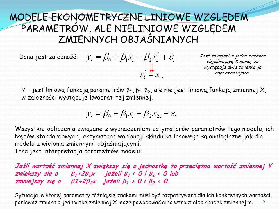 Dana jest zależność: Y – jest liniową funkcją parametrów  0,  1,  2, ale nie jest liniową funkcją zmiennej X, w zależności występuje kwadrat tej zmiennej.