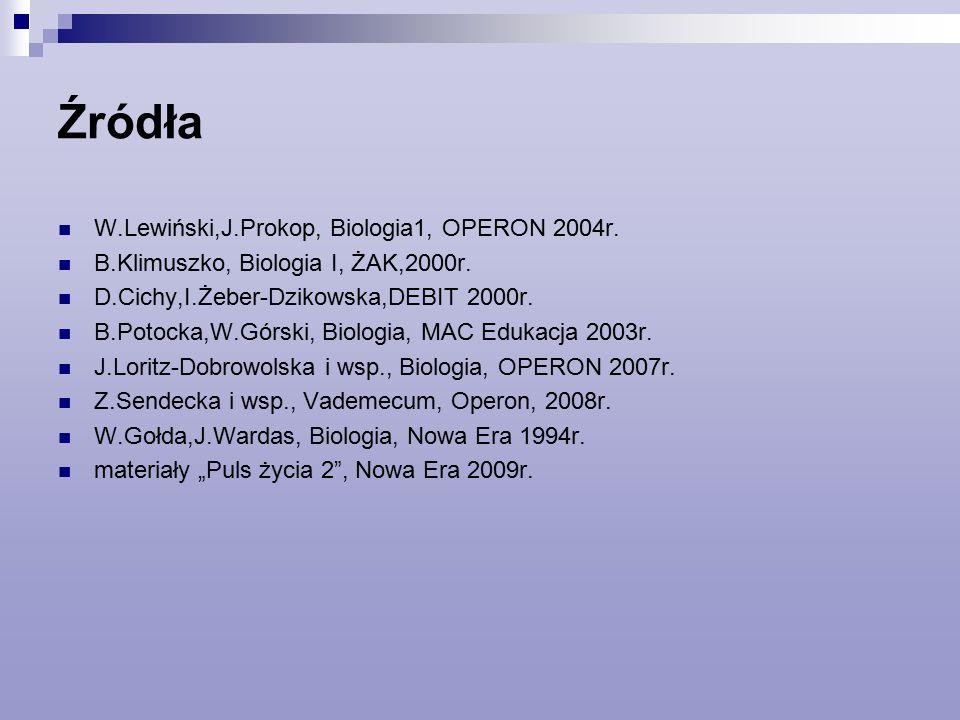 Źródła W.Lewiński,J.Prokop, Biologia1, OPERON 2004r.