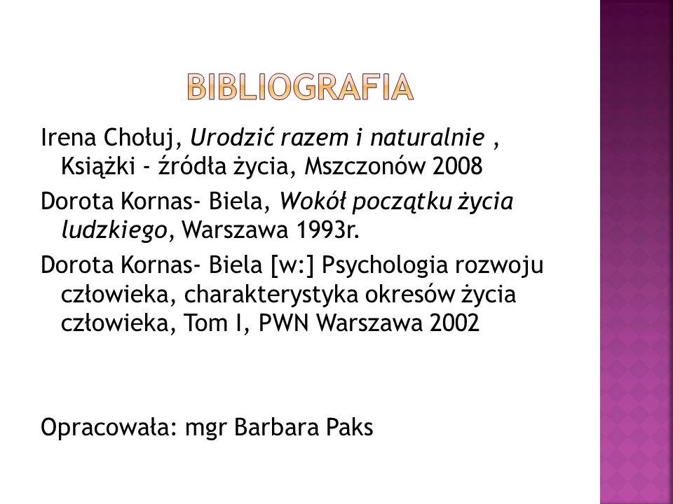 Irena Chołuj, Urodzić razem i naturalnie, Książki - źródła życia, Mszczonów 2008 Dorota Kornas- Biela, Wokół początku życia ludzkiego, Warszawa 1993r.